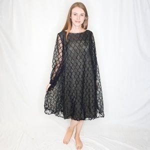 VINTAGE Swing Mini Dress Black Diamond Mesh 0116